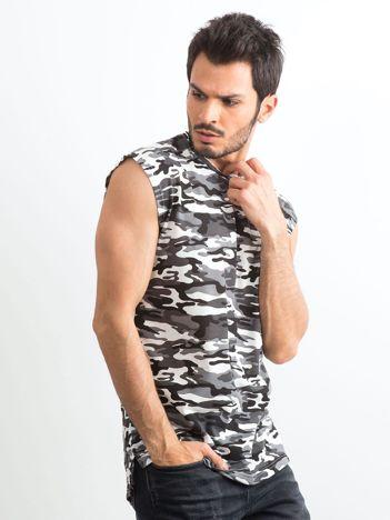 Szara koszulka męska z nadrukiem moro