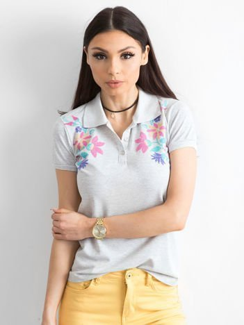 Szara koszulka polo z kolorowym kwiatowym printem