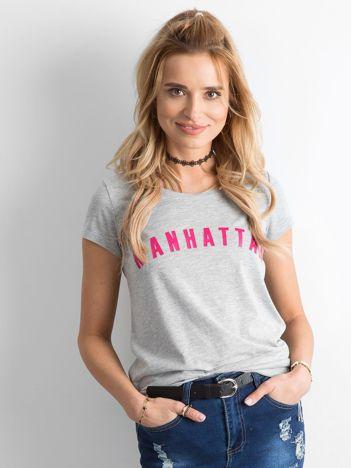 Szara koszulka z napisem