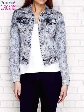 Szara kurtka jeansowa w motywy kwiatowe