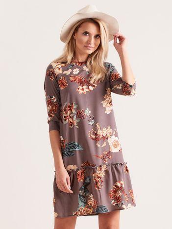 Szara kwiatowa sukienka z falbaną