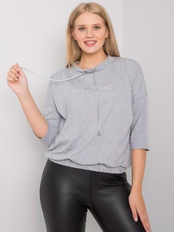Szara melanżowa bluzka plus size z dżetami Latore