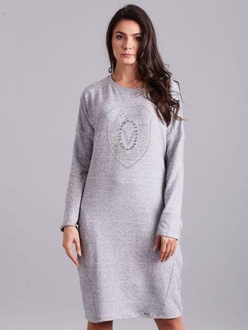 Szara melanżowa sukienka z aplikacją