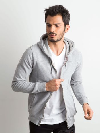 Szara męska bluza dresowa z kapturem