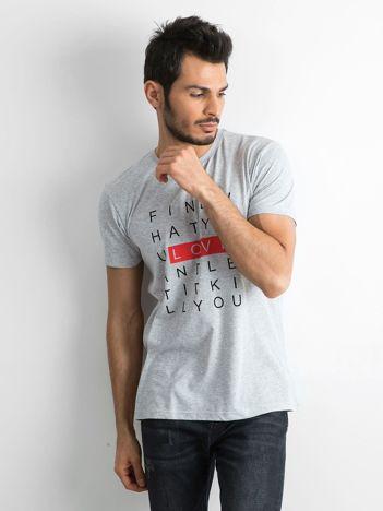Szara męska koszulka z nadrukiem