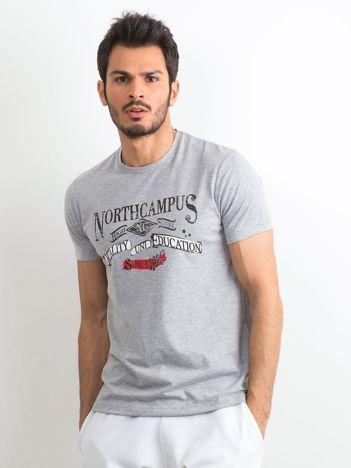 30de7e522bac0 Szara męska koszulka z nadrukiem retro