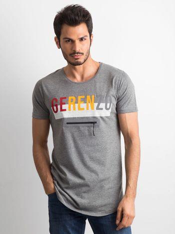 Szara męska koszulka z napisem