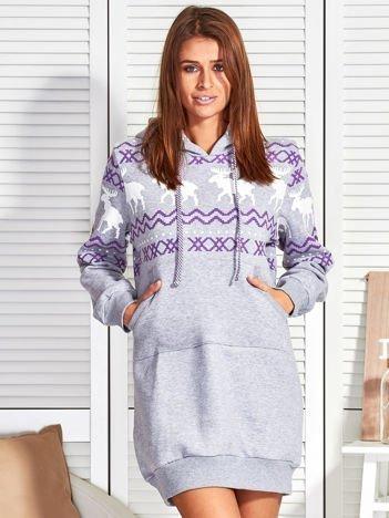 Szara ocieplana sukienka w norweskie wzory
