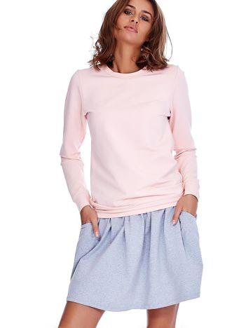 Szara rozkloszowana dresowa spódnica z kieszeniami