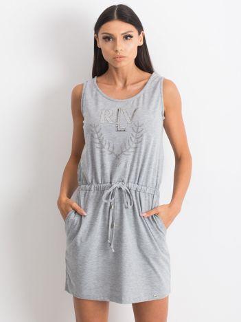Szara sukienka Embellishment