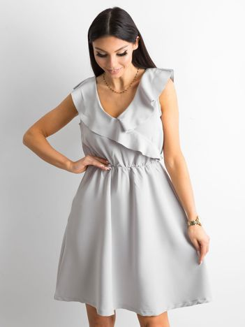 Szara sukienka damska z falbanami
