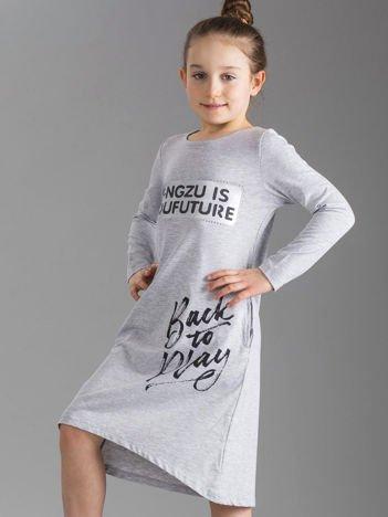 Szara sukienka dziecięca z napisami