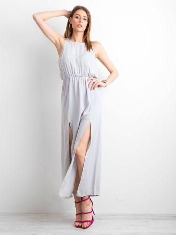 ad7345e752 Szara sukienka maxi z rozcięciami