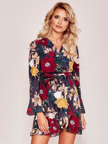 Szara sukienka w kolorowe kwiaty