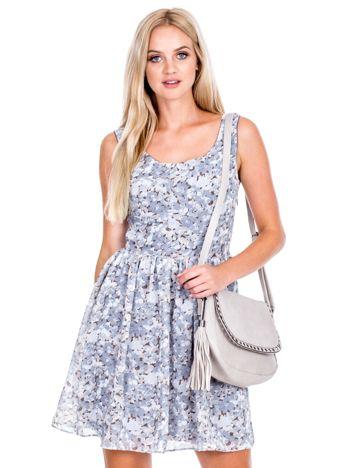 Szara sukienka w kwiaty