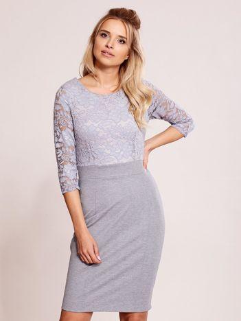 Szara sukienka z koronkową górą