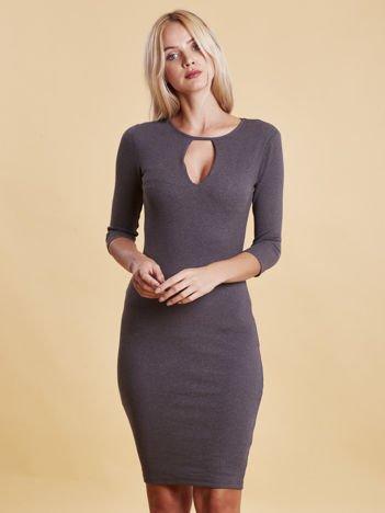 Szara sukienka z wycięciem łezką