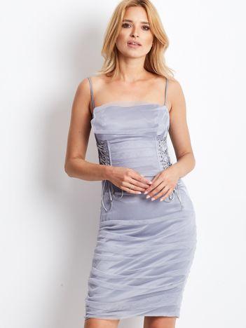 Szara sznurowana sukienka