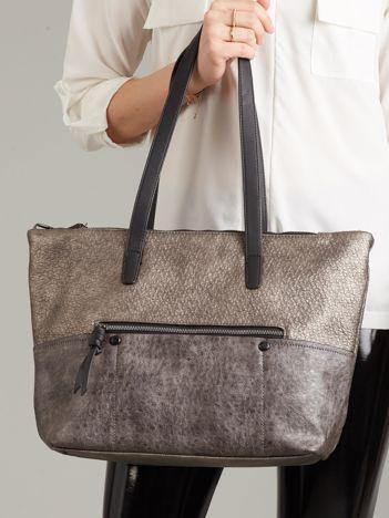 Szara torba damska shopper z ekoskóry