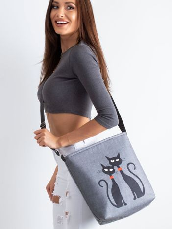 Szara torba filcowa z kotami
