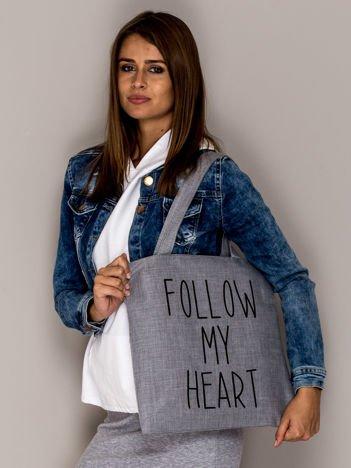 Szara torba materiałowa FOLLOW MY HEART