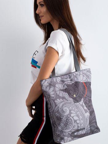 Szara torba materiałowa z kotem