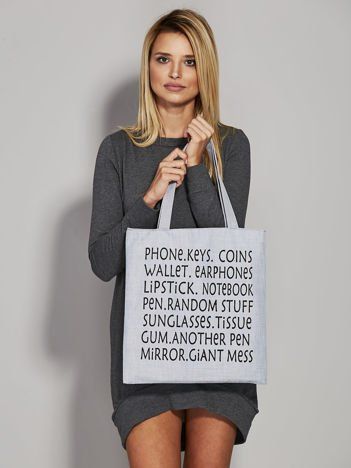 Szara torba materiałowa z nadrukiem