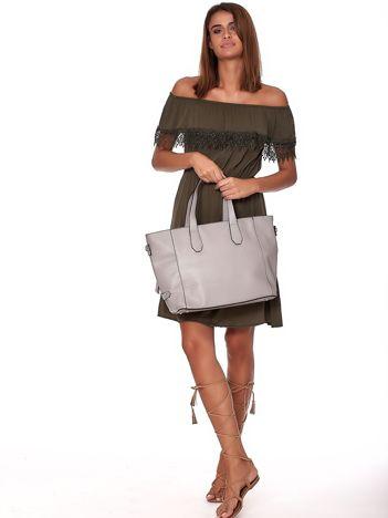 Szara torba shopper z ażurowaniem i odpinanym paskiem