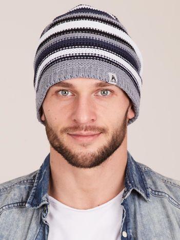 Szara zimowa czapka męska w paski