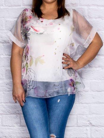 Szara zwiewna bluzka koszulowa w malarskie desenie PLUS SIZE