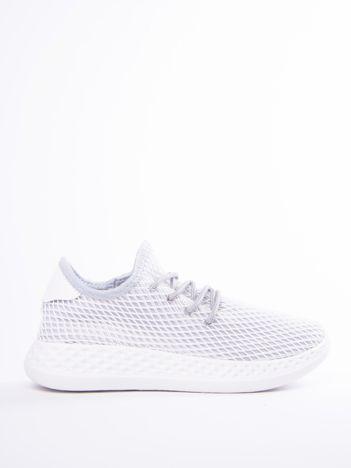 Szare ażurowe buty sportowe z białą siateczką