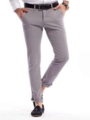 Szare bawełniane spodnie męskie chinosy