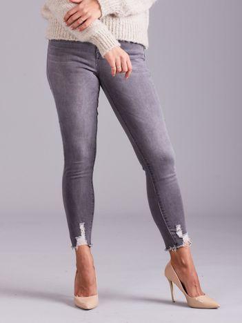 Szare dopasowane dżinsy damskie