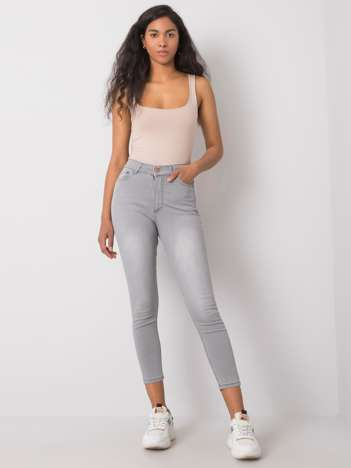 Szare dopasowane jeansy Kaleena