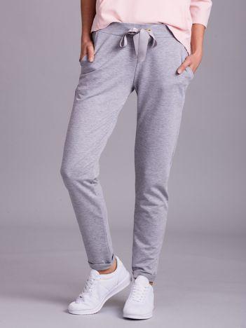 Szare dresowe spodnie z wiązaniem