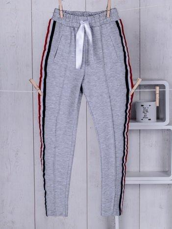 Szare dziecięce spodnie dresowe ze wstążką
