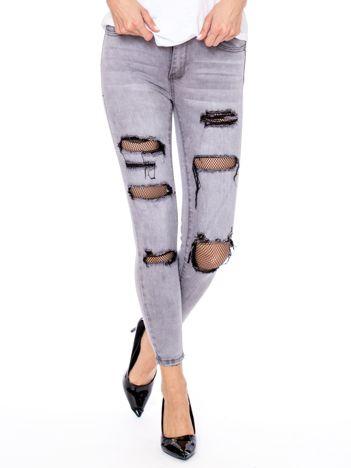 Szare jeansowe rurki z siatkowymi wstawkami