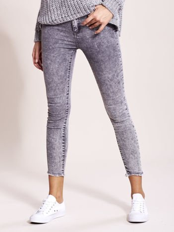 Szare jeansy damskie high waist