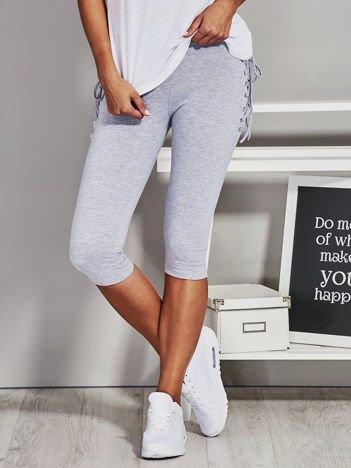Szare krótkie legginsy lace up