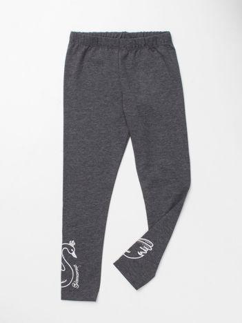 Szare legginsy dla dziewczynki z aplikacją