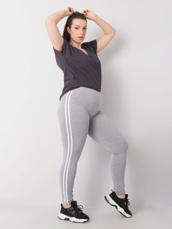 Szare melanżowe legginsy bawełniane plus size Millie
