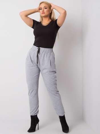 Szare melanżowe spodnie dresowe plus size Anais