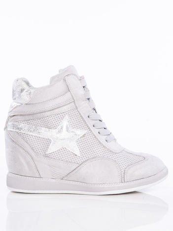 Szare półażurowe sneakersy za kostkę z ozdobną błyszczącą gwiazdką na cholewce