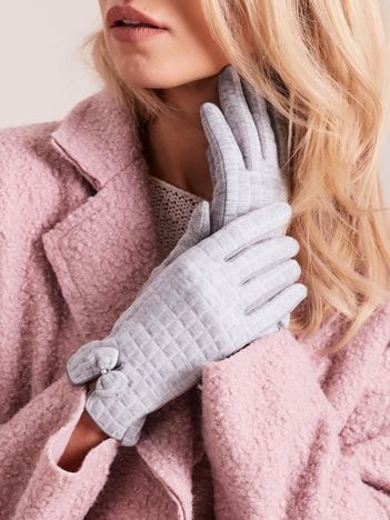 Szare rękawiczki w kratkę
