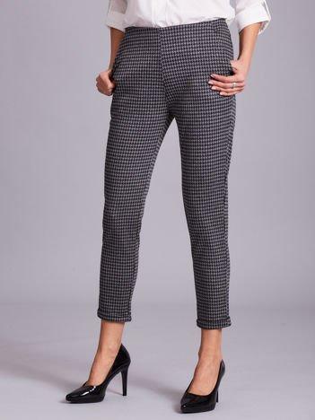 Szare spodnie cygaretki w pepitkę