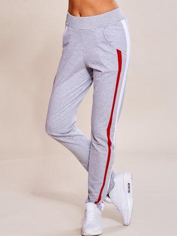 Szare spodnie dresowe damskie z podwójnymi lampasami