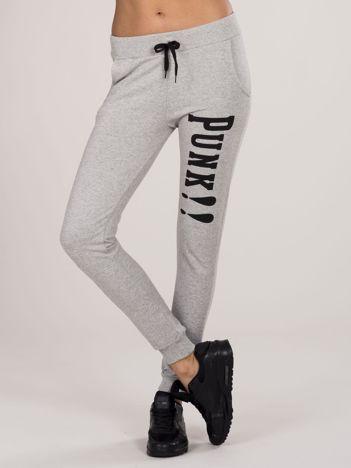 Szare spodnie dresowe z napisem