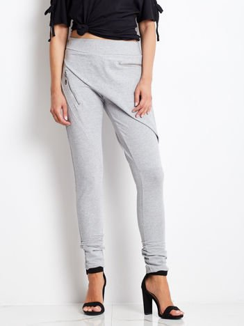 Szare spodnie dresowe z suwakami
