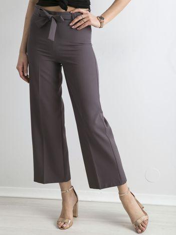Szare szerokie spodnie z wiązaniem