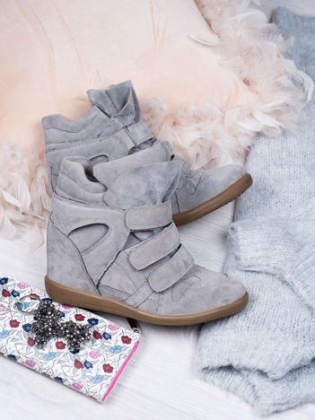 Szare zamszowe sneakersy na rzepy